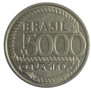 Moeda Brasil Tiradentes 5000 Cruzeiros 1992 SOB