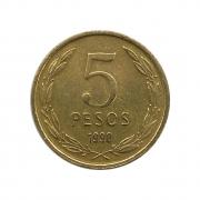 Moeda Chile 5 Pesos 1990 MBC