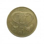 Moeda Chipre 5 Cêntimos 1983 MBC