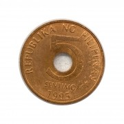 Moeda Filipinas 5 Cêntimos 1995 SOB