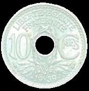 Moeda França 10 Cêntimos 1939 SOB