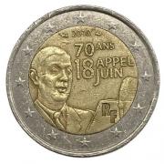 Moeda França 2 Euro, 2010 70 Anos do Apelo de 18 de Junho