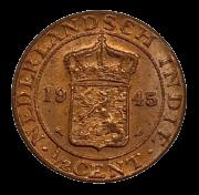 Moeda Índias Orientais Neerlandesas ½ Cêntimo 1945 SOB