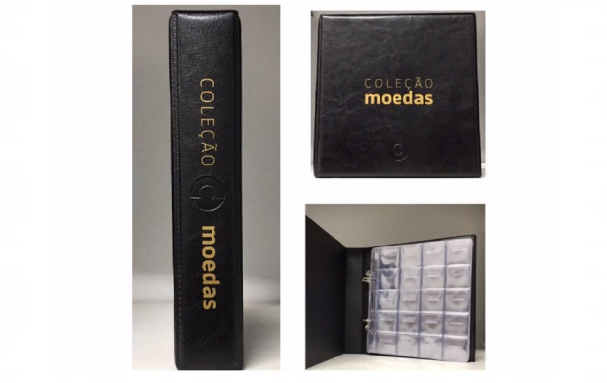 Àlbum Colecões de Moedas 2 Argolas +10 FOLHAS DE 20 BOLSOS