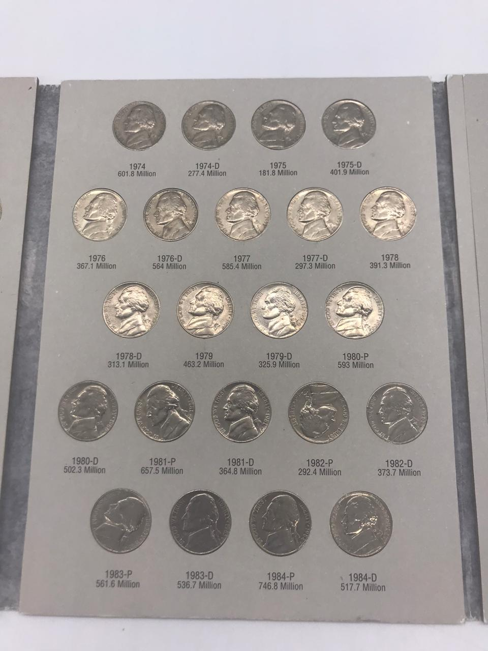 Àlbum Jefferson Nickel 1962-1995  falta  apenas 1 moeda