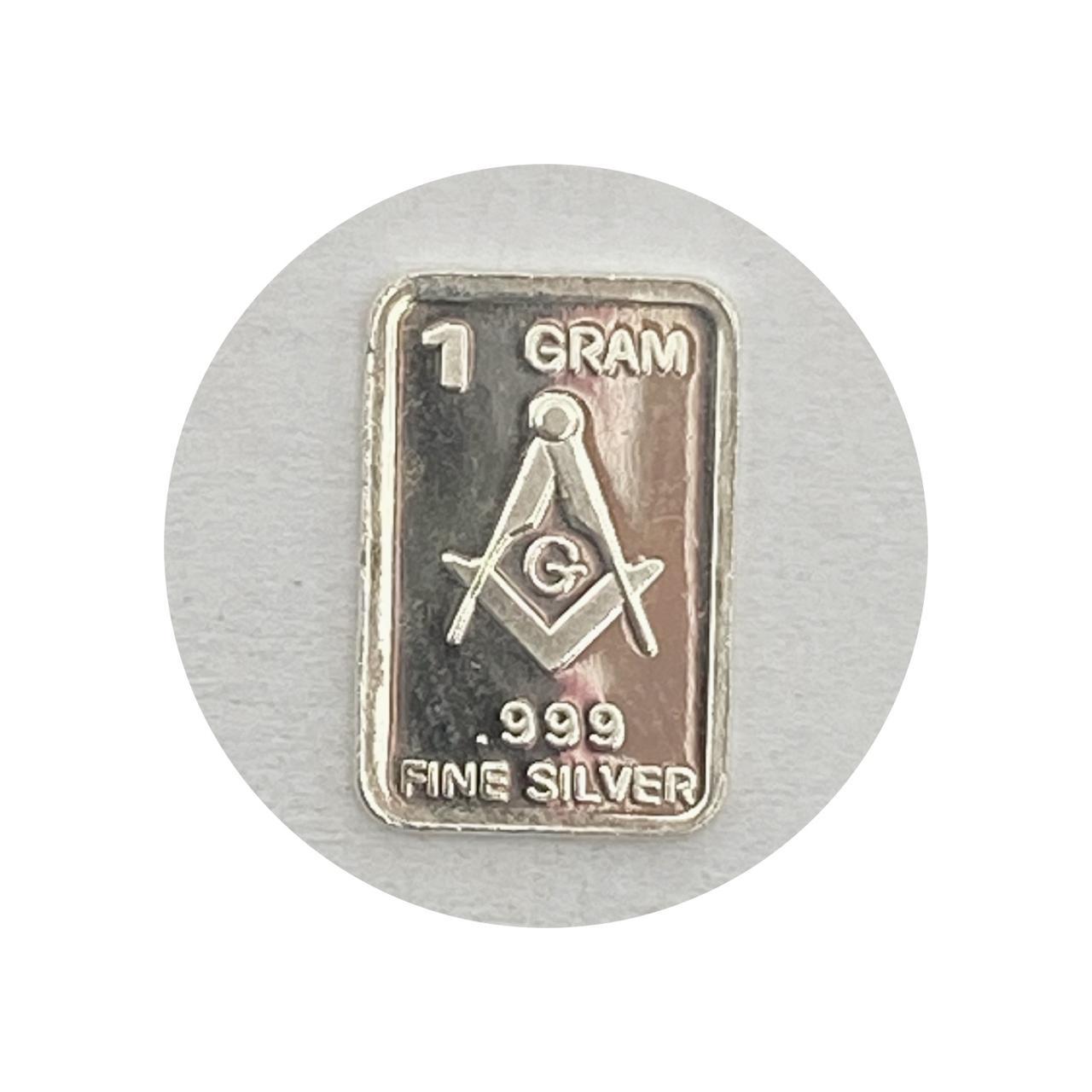 Barra de 1g de prata Simbolo da Maçonaria