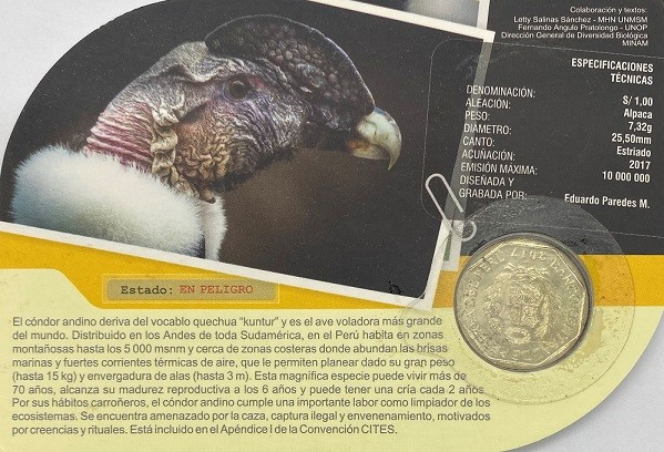Blister Fauna Peru 1 Sol 2017 Condor Andino FC