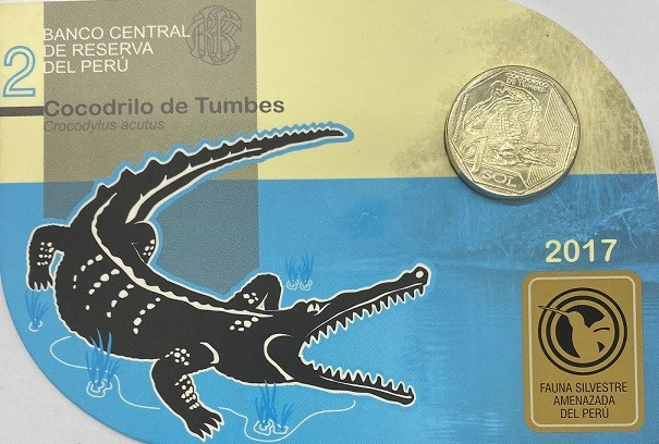 Blister Fauna Peru 1 Sol  2017 Crocodilo Americano FC
