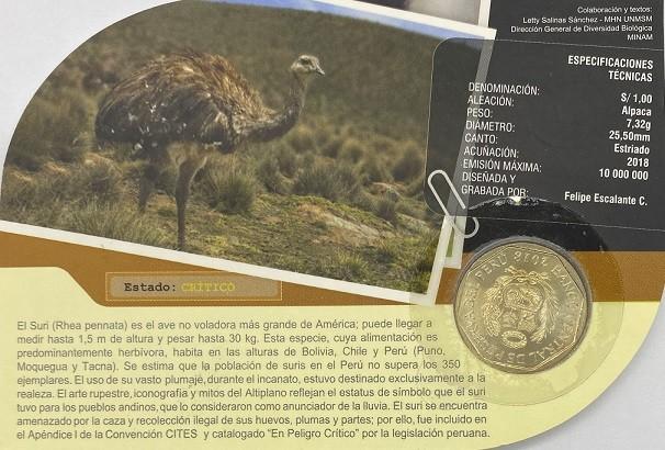 Blister Fauna Peru 1 Sol 2018 Suri Rhea FC
