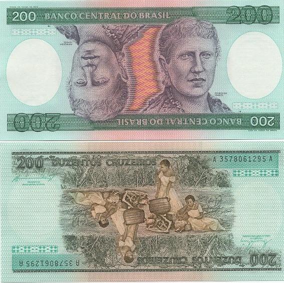 C159* Cédula Brasil 200 Cruzeiros Princesa Isabel 1984 FE