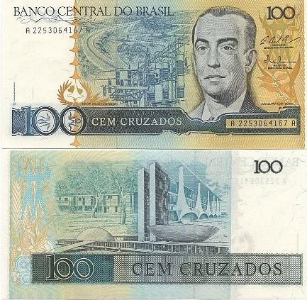 C187 Cédula Brasil 100 Cruzados JK 1987 FE