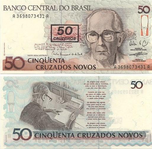 C210 Cédula 50 Cruzados Novos Carlos Drummond FE