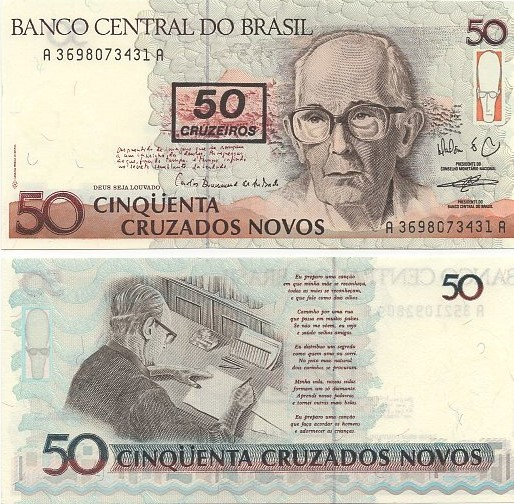 C210* Cédula Brasil 50 Cruzados Novos Carlos Drummond 1990 FE
