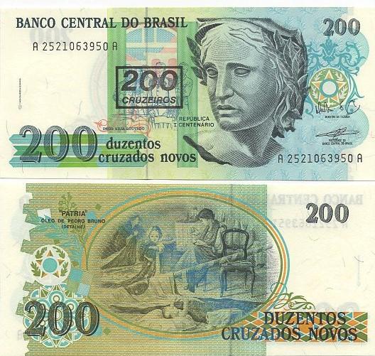 C212 Cédula Brasil 200 Cruzeiros 1990 (carimbada) FE