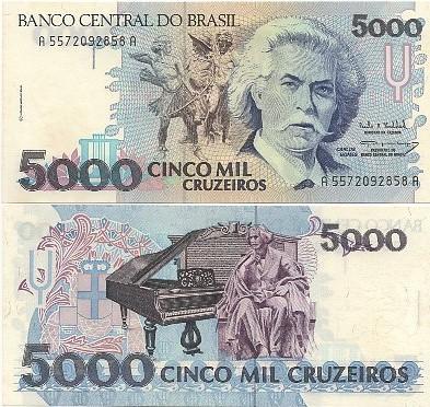 C221 Cédula Brasil 5000 Cruzeiros Carlos Gomes 1993 FE
