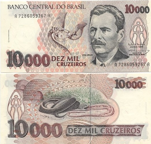 C225 10.000 Cruzeiros 1993 Vital Brazil FE