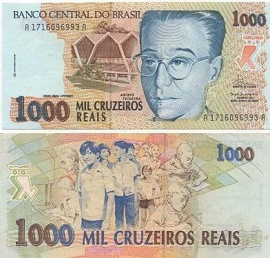 C238 1.000 Cruzeiros Reais 1993 Anísio Teixeira SOB