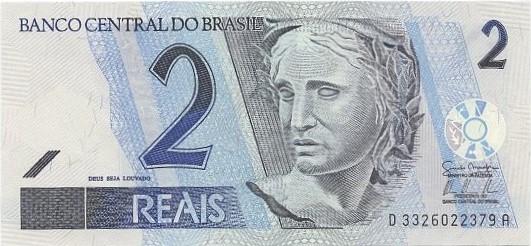 C262 Cédula Brasil 2 Reais DA (Mantega/Tombini) FE