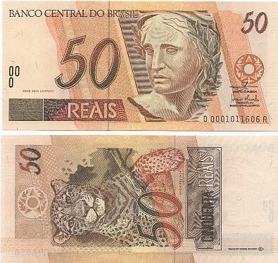 C321 Cédula Brasil 50 Reais DA (Mantega/Meirelles) FE