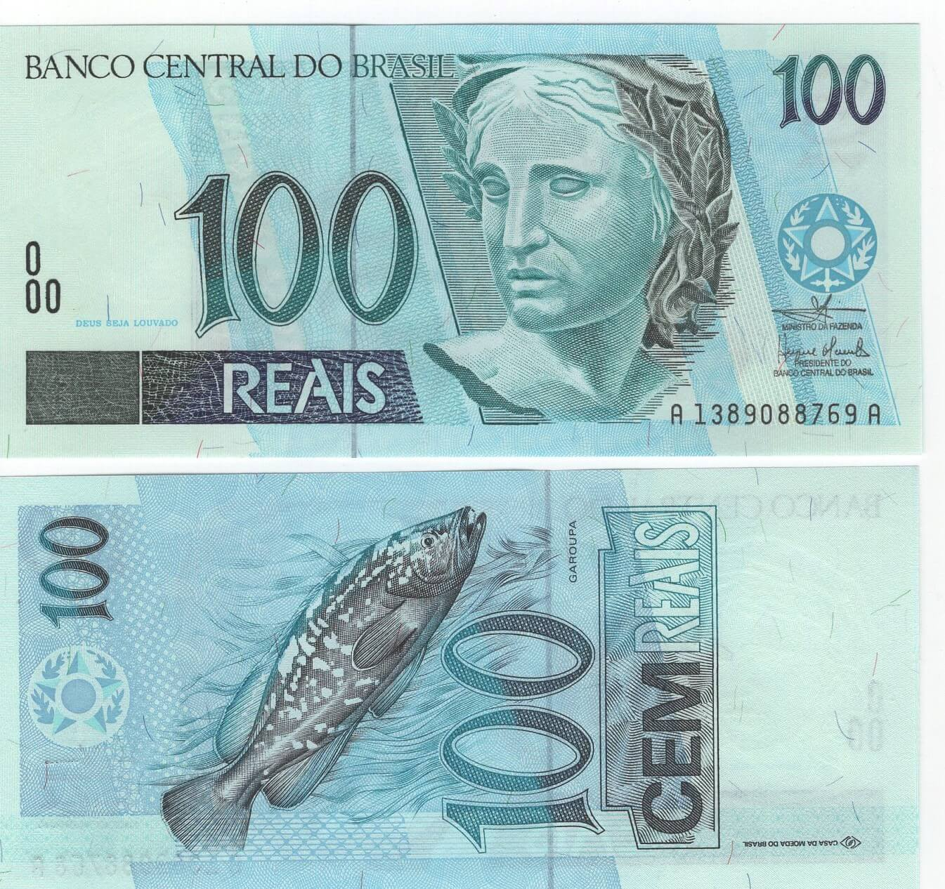 C329 Cédula Brasil 100 Reais (Mantega/Meirelles) FE