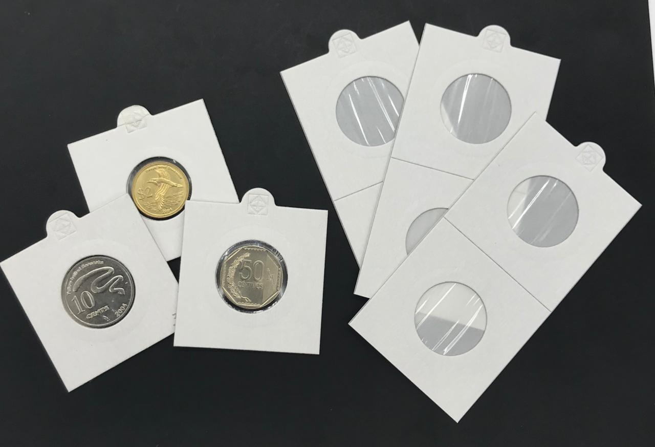 Caixa com 25 Coin Holders Leuchtturm (Branco)