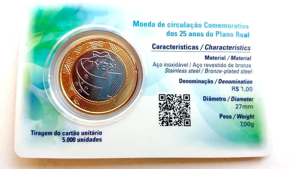 Cartão Unitário Oficial Casa da Moeda-25 Anos do Plano Real
