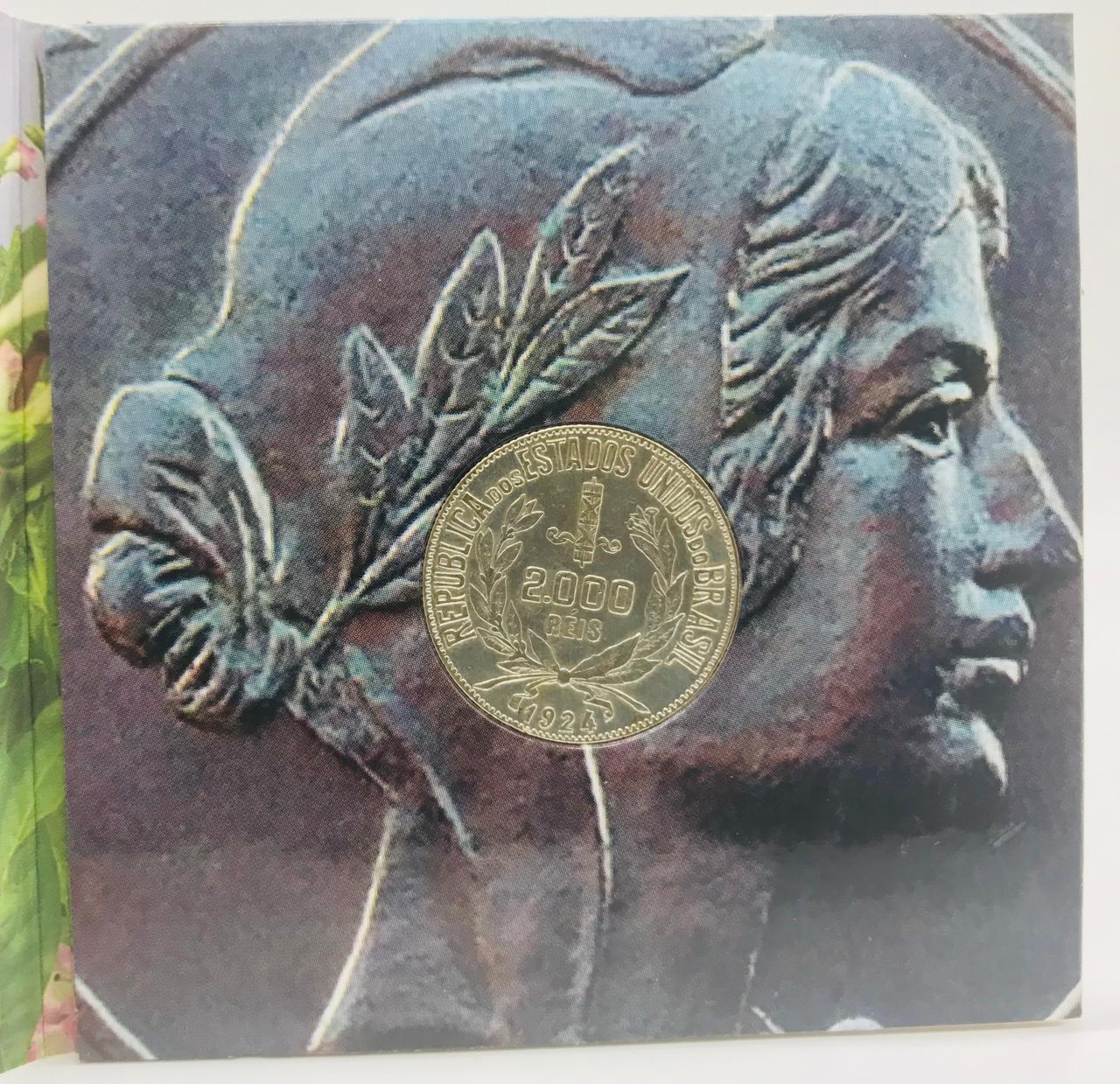Cartela com a Moeda  2000 Réis 1924 (Prata)