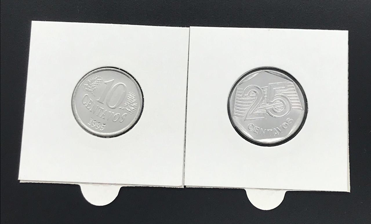 Casal de moedas 50 Anos da FAO - 10 e 25 centavos de 1995 - FC