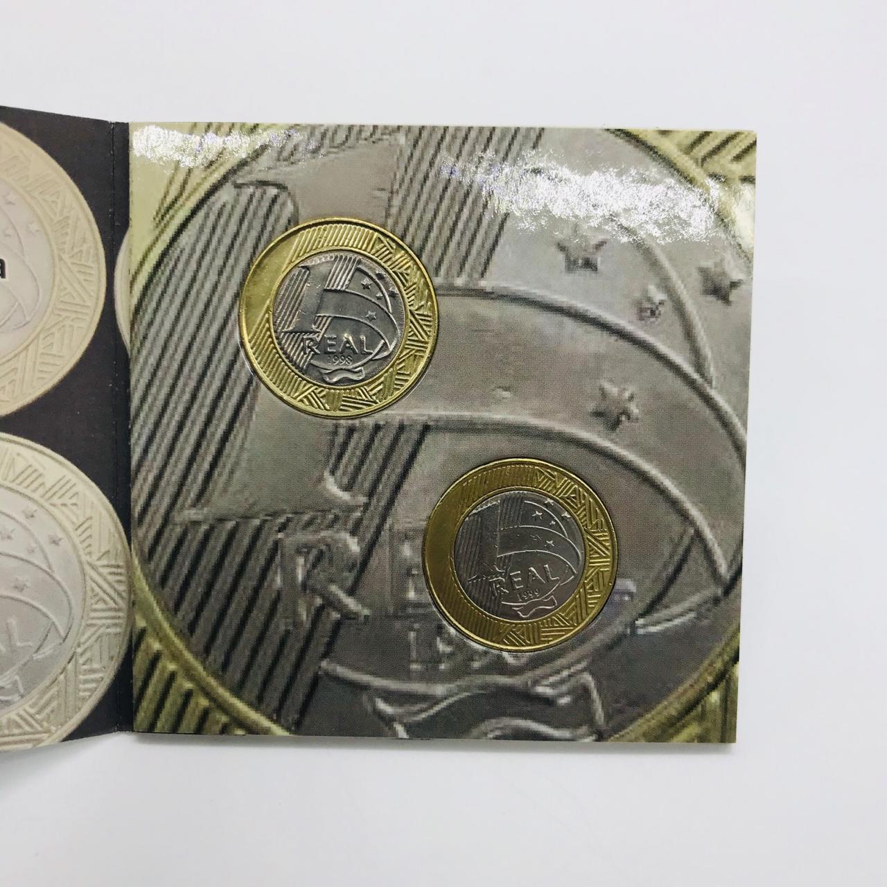 Casal de moedas de 1 Real - baixa tiragem (1998-1999) MBC na Cartela