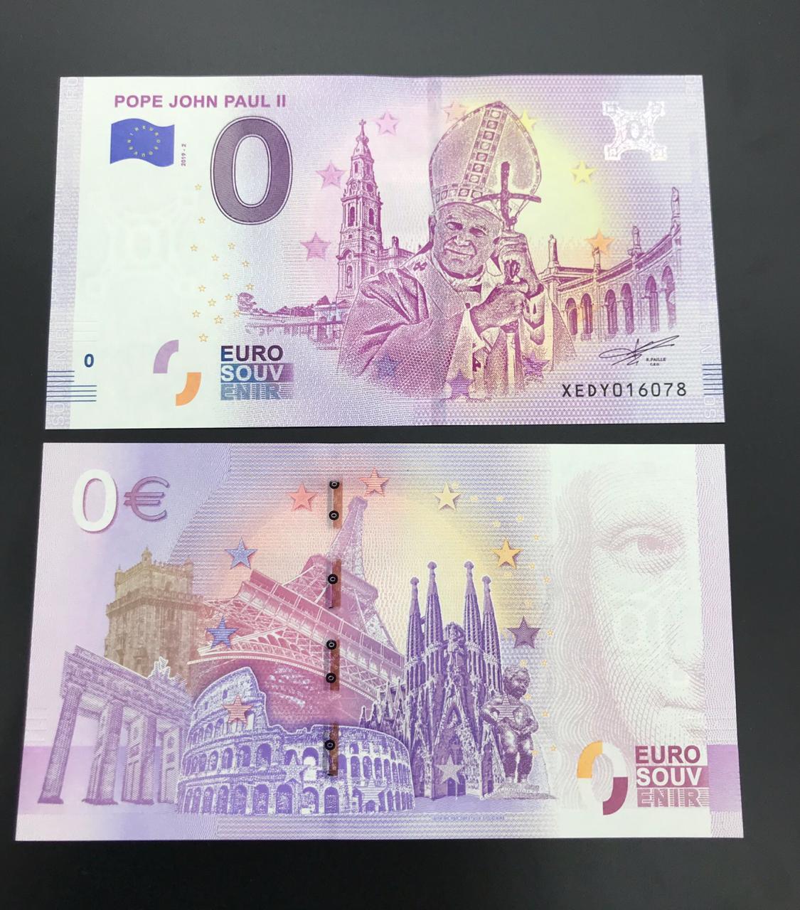 Cédula 0 Euro Papa JOÃO PAULO II