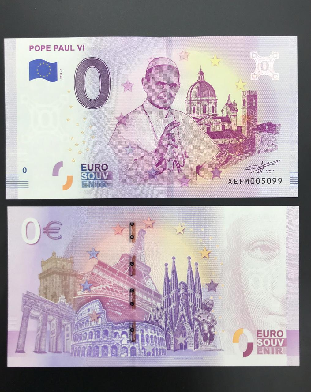 Cédula 0 Euro Papa PAULO  VI