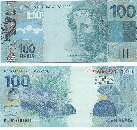 Cédula 100 Reais GJ (Meirelles/Ilan) FE