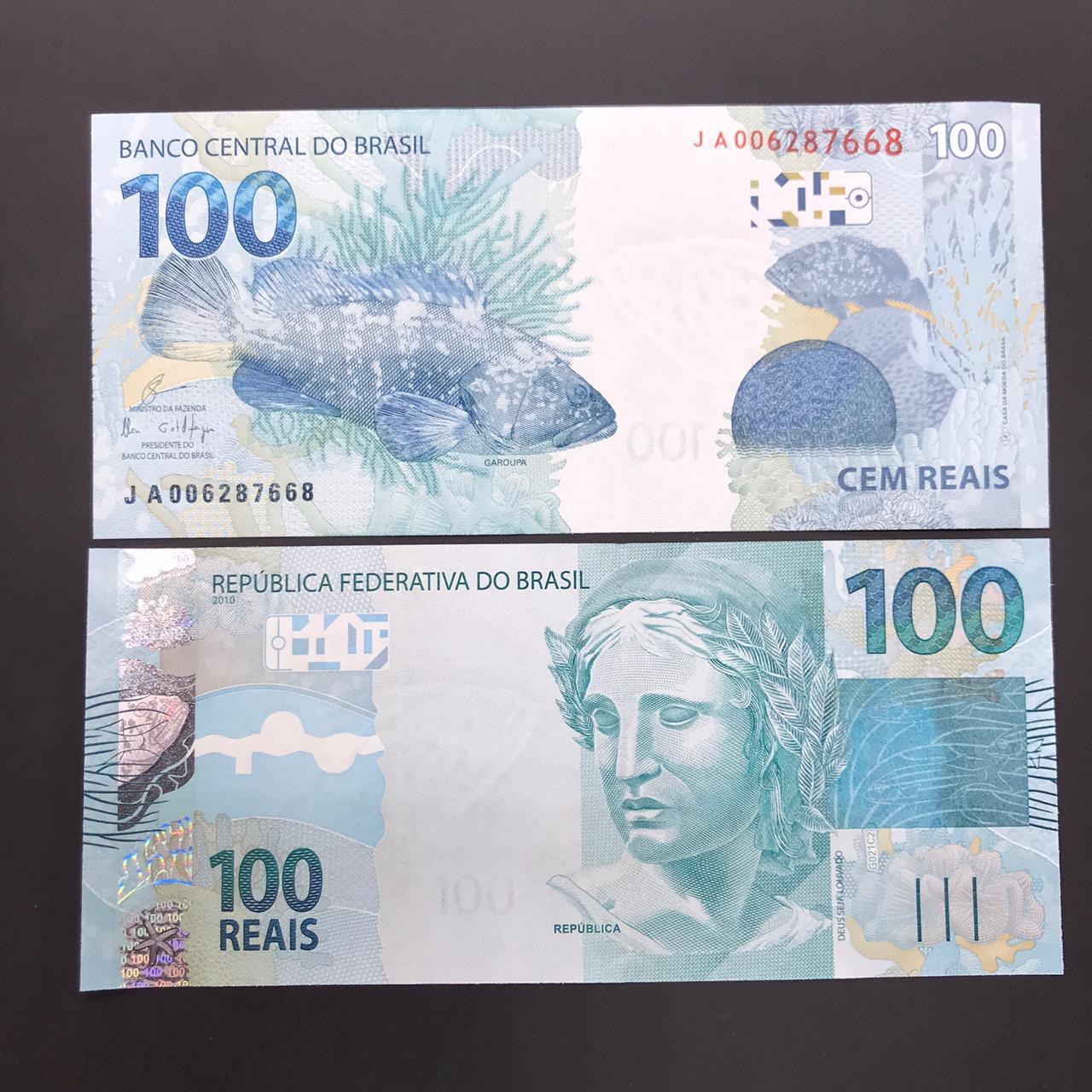 Cédula 100 Reais JA  (Levy/Tombini) FE