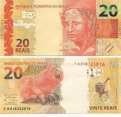 Cédula Brasil 20 Reais FA (Meirelles/Ilan) FE