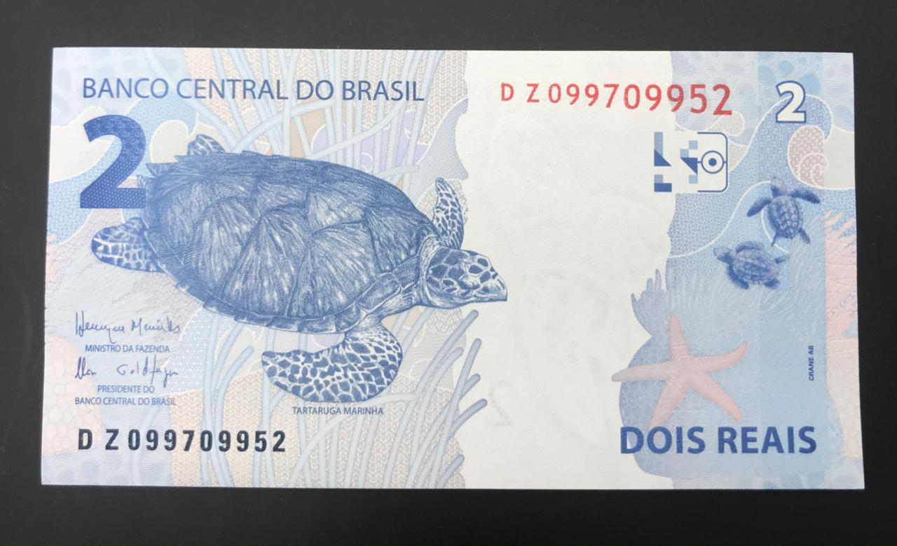 Cédula 2 Reais DZ  Henrique Meirelles/Ilan Goldfajn Flor de Estampa