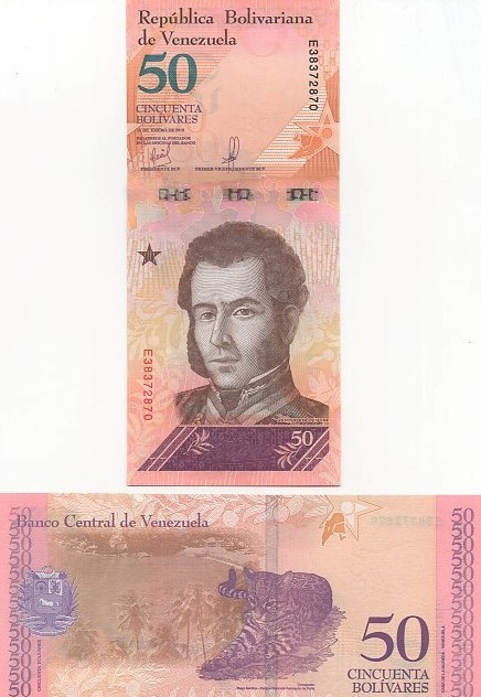 Cédula 50 Bolívares Venezuela Fauna FE