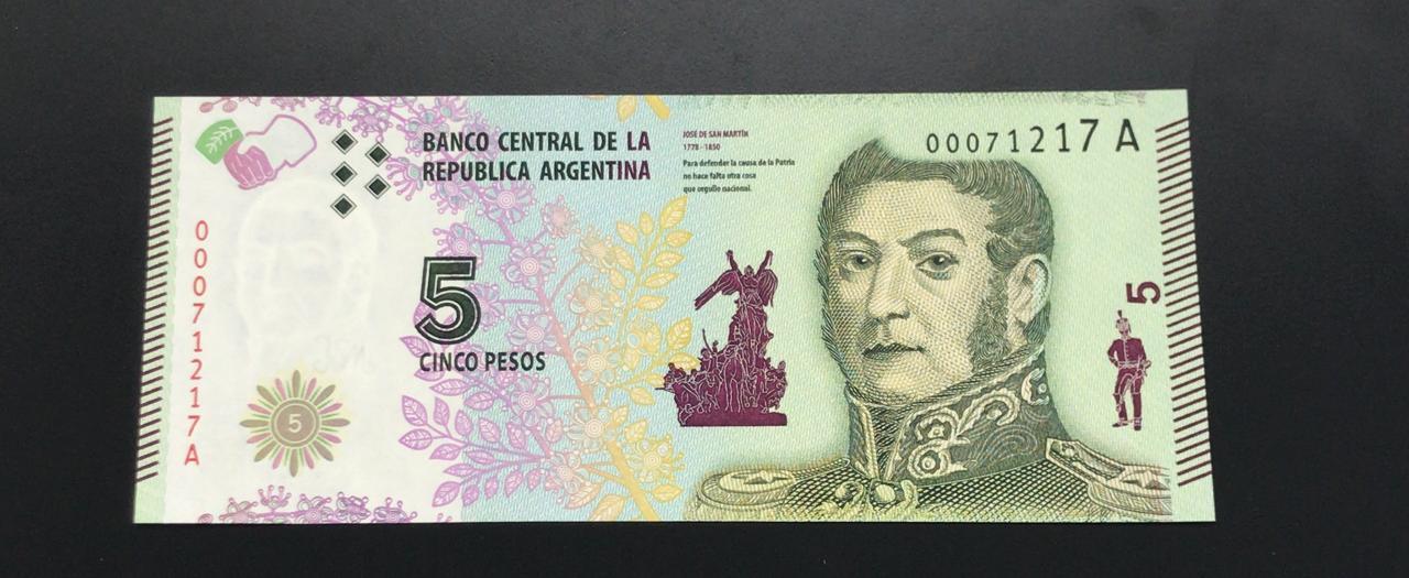 Cédula Argentina 5 Pesos - Flor de estampa (FE)