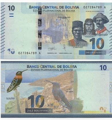 Cédula Bolívia 10 Bolivianos FE