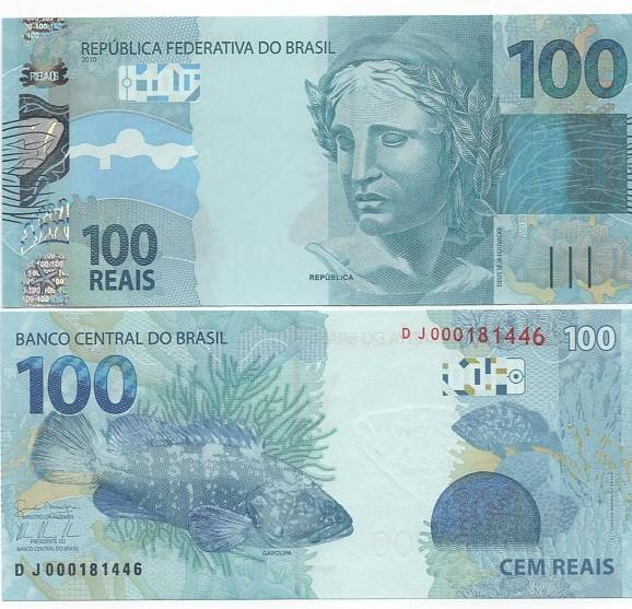 Cédula Brasil 100 Reais DJ (Mantega/Tombini) FE
