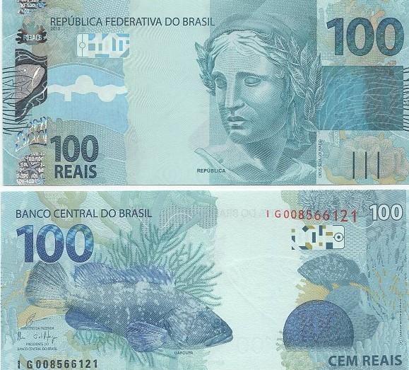 Cédula Brasil 100 Reais IG (Guardia/Ilan) FE
