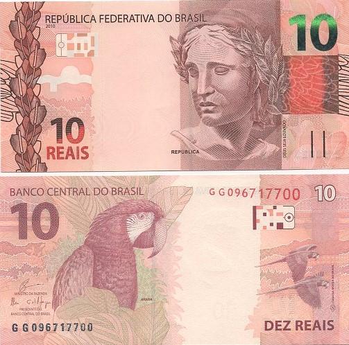 Cédula Brasil 10 Reais GG (Guardia/Ilan) FE