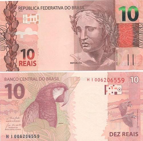 Cédula Brasil 10 Reais HI (Guedes/R.Campos) FE