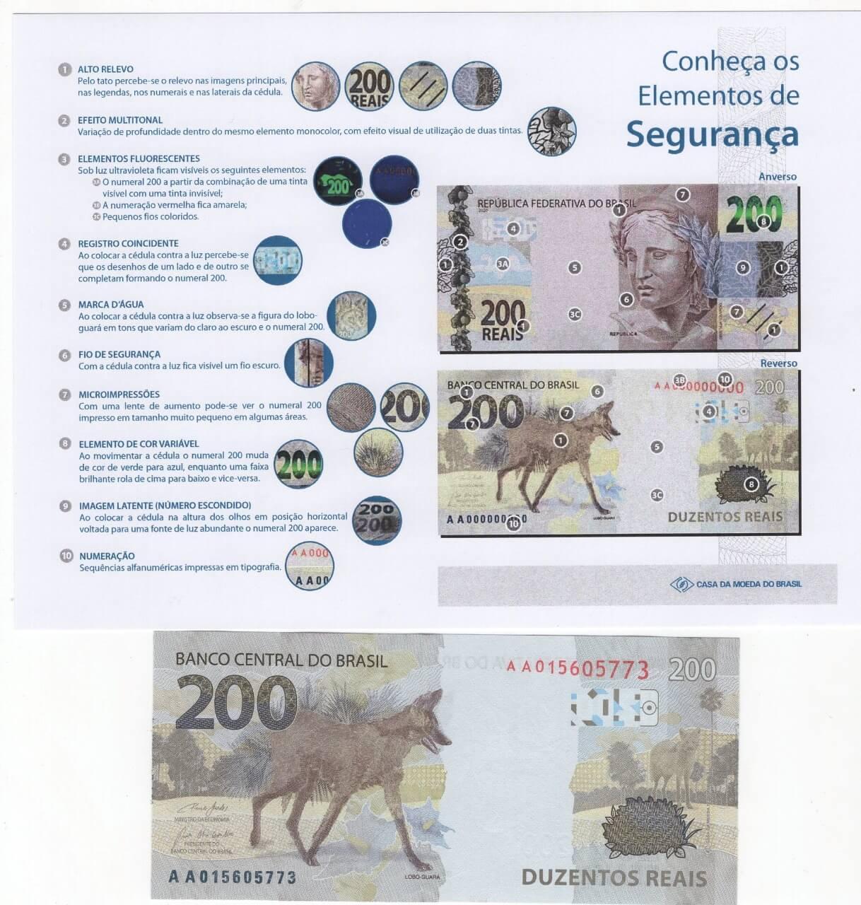 Cédula Brasil 200 Reais Lobo-guará (FE) +  informativo com a descrição dos elementos de segurança