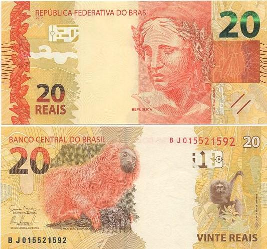 Cédula Brasil 20 Reais BJ (Mantega/Tombini) FE