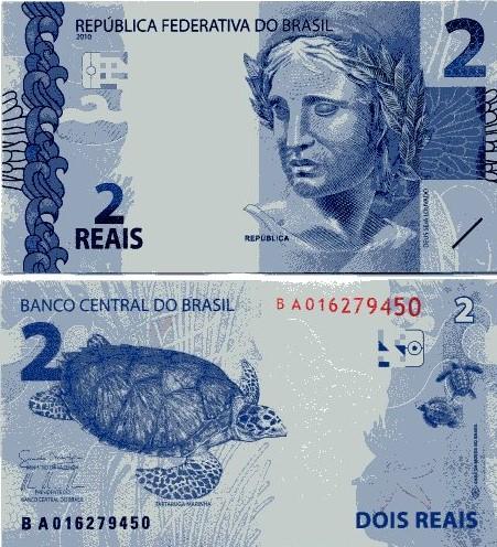 Cédula Brasil 2 Reais BA (Mantega/Tombini) FE