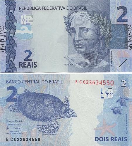 Cédula Brasil 2 Reais EC (Meirelles/Ilan) FE