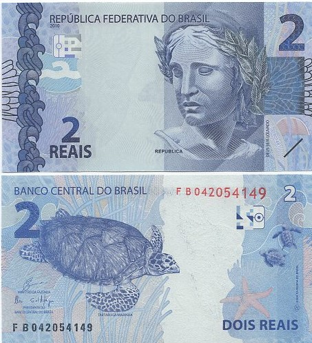 Cédula Brasil 2 Reais FB (Guardia/Ilan) FE