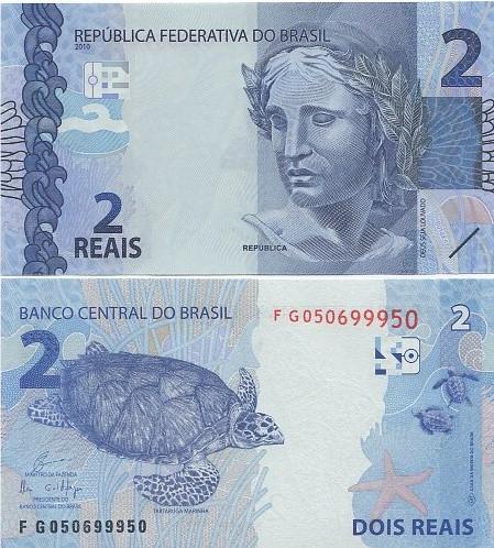 Cédula Brasil 2 Reais FG (Guardia/Ilan) FE