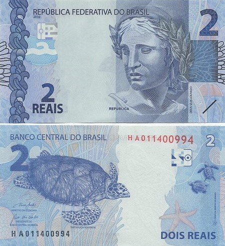 Cédula Brasil 2 Reais HA (Guedes/R.Campos) FE