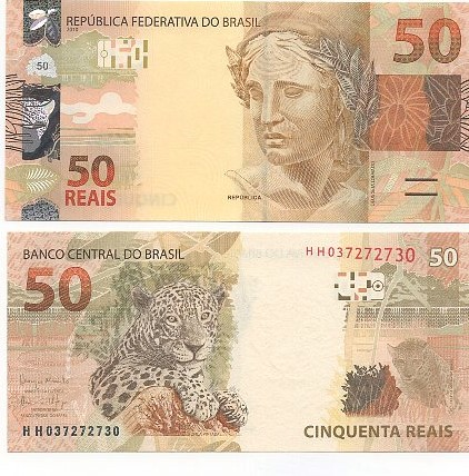 Cédula Brasil 50 Reais HH (Meirelles/Ilan) FE